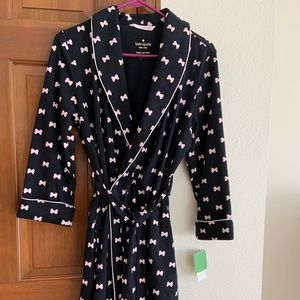 Kate Spade Short Robe - small. Pink bows on black